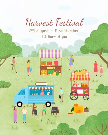 Event invitation, harvest festival. People selling products. Truck with products food vegetables and snacks, coffee beverages promotional poster. Funny spending time on harvest festival. Flat cartoon