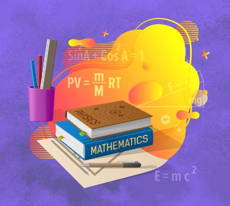 Mathematics and physics abstract liquid shape, educational books, office and paper, ruler and pencil, bright spot and formulas on blue, studying vector. Back to school concept. Flat cartoon Illustration