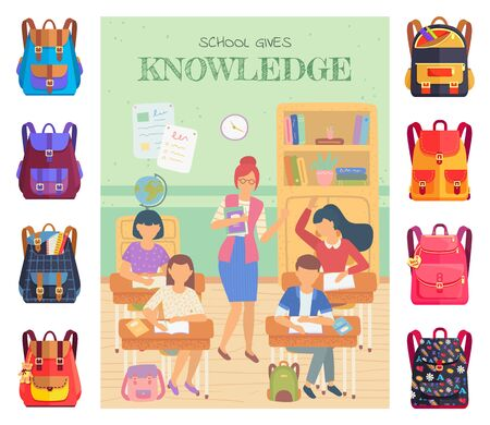 School gives knowledge vector, teacher with students raising hands to answer question. Set of bags with supplies, rulers and textbooks in classroom. Back to school concept. Flat cartoon Illustration