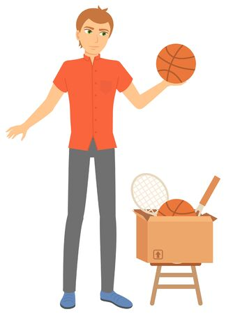 Young man selling sports equipment. Tennis rocket and basketball ball in cardboard box. Garage sale or flea market concept flat vector illustration. Event for sale used goods