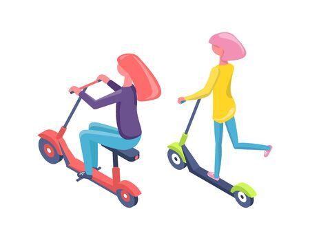 Kobiety jazdy skuterem i rowerem, widok ludzi z tyłu na eko transport, nowoczesny sprzęt miejski, postać kobiety w zwykłych ubraniach balansując na wektor pojazdu. Płaska kreskówka