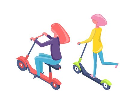 Women driving scooter and bike, people back view on eco transport, urban modern equipment, females character in casual clothes balancing on vehicle vector. Flat cartoon Иллюстрация