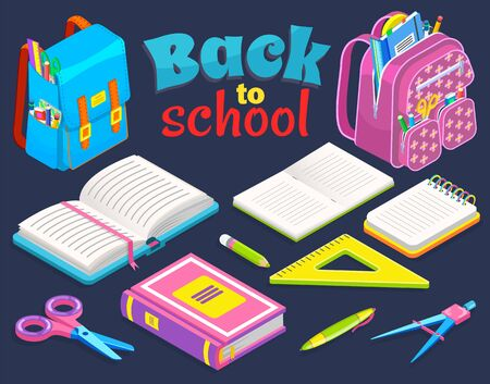 Backpacks and colorful supplies. Stationery set of notebook, textbook, pencils, scissors, ruler, dividers. Back to school concept vector illustration. Flat cartoon isometric 3d  イラスト・ベクター素材