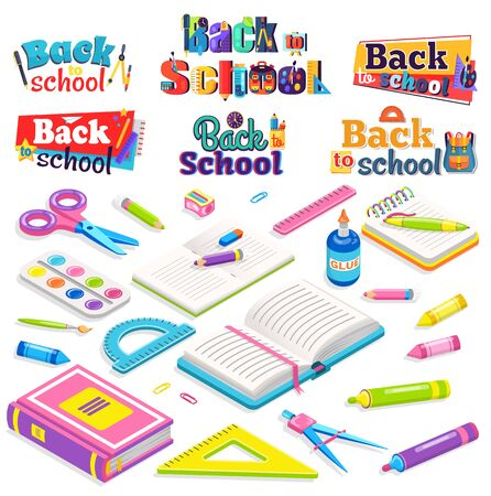 School vector, isolated book and textbook, notebook and pencil. Glue and ruler, scissors and palette with paint crayons. Discipline education. Back to school concept. Flat cartoon isometric 3d