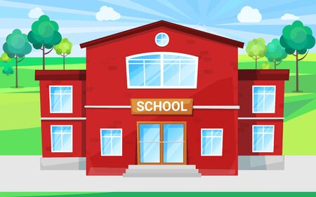 Big school with green territory schoolyard for outdoor lessons and playing games. Red building for primary and secondary education, study for children vector. Back to school concept. Flat cartoon