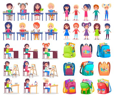 School bag, smiling girl and boy reading, writing or painting. Backpack sticker, pupils studying, education symbol, children learning with book vector. Back to school concept. Flat cartoon Çizim