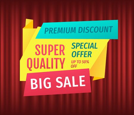 Advertisement of exclusive offer, hot discount percent, only one day. Retail sale poster, shopping icon, marketing symbol. Cheap, deal promotion, lowering of prices. Red curtain theater background