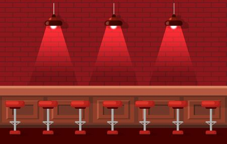 Interior of empty bar vector, drinking establishment for people. Cozy place to drink, red lights from lamp, wooden table and barstools pub flat style