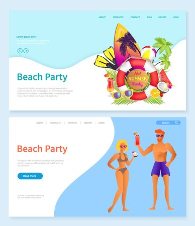 Beach party vector, surfing board with coconut and glasses, palm tree and lifebuoy. Man and woman drinking alcoholic tropical cocktails by coast. Website or webpage template, landing page flat style