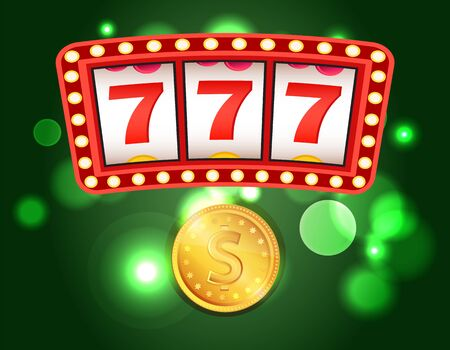 Casino club, slot or fruit machines, 777 combination and gold coin vector. Money stake or bet, gambling game, play and win, luck or fortune and risk