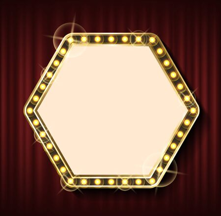 Blank banner in shape of hexagon, vector, empty banner with bulbs glowing in dark. Vintage framing template on red curtain background, retro style. Red curtain theater background
