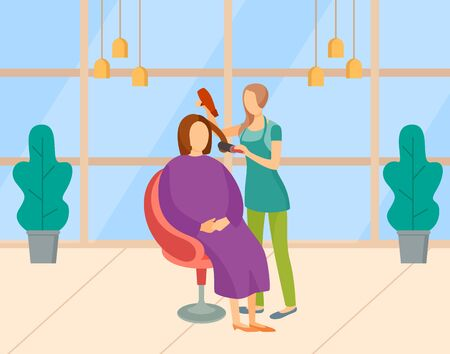 Beauty salon vector, woman with client using hair dryer. Lady getting new haircut or hairdo, procedure in place with plants and lamps. Master and customer. Modern office with big windows of hair salon