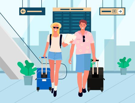 Man and woman in airport vector, couple in arrivals hall. Pair ready for vacation, suitcases and bags, male with sunglasses. Table board with flights. Famify weekend. Flat cartoon 向量圖像