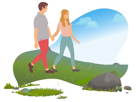 Traveling couple, romantic weekend in mountains vector. Active lifestyle, summer outdoor activity, man and woman, hills and meadow, wild nature, mount. Mountain tourism. Flat cartoon