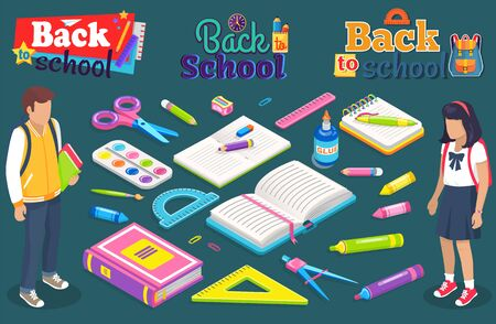 Bach to school vector, students and books, pencil and ruler, palette for art lessons. Boy and girl studying and getting knowledge, textbook and scissors. School concept. Flat cartoon isometric 3d