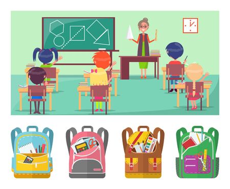 Geometry educational lesson in primary school. Teacher explaining material for pupils. Under picture placed backpacks with stationery vector illustration. Back to school concept. Flat cartoon Ilustracja