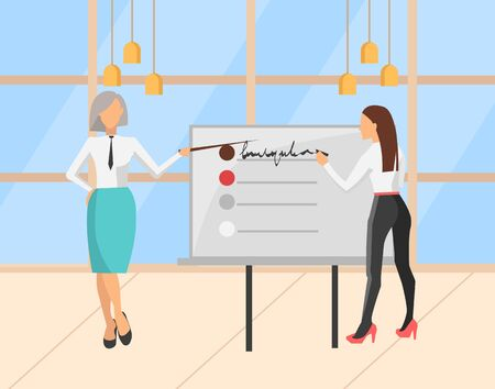 People presenting new strategy plan for company vector, woman with whiteboard and inscriptions. Woman wearing formal clothes, teamwork of ladies office. Modern office with big windows Ilustração