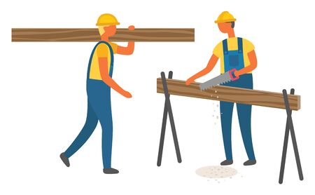 Construction workers wearing helmet and work uniform sawing wood, man carrying log. Lumberjack character, logging technology, professional building vector. Flat cartoon