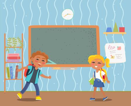 Happy smiling elementary school students. Boy and girl pupils. Interior of classroom with furniture, chalkboard and bookshelf vector illustration. Back to school concept. Flat cartoon Stock Illustratie