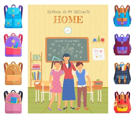 School is my second home postcard decorated by stickers of backpack. Knowledge place, children and teacher in classroom, chalkboard and desktop vector. Back to school concept. Flat cartoon Stock Illustratie