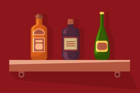 Alcoholic beverages standing on shelf vector, bottles with emblems etiquette. Pub or bar service, drinks alcohol in container glass, celebration and party
