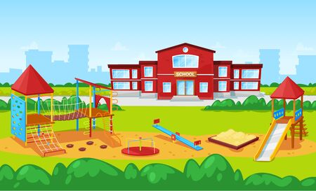 Playground with carousel and sandbox vector, school institution building exterior facade. Cityscape with skyscrapers and town fog. Education place. Back to school concept. Flat cartoon