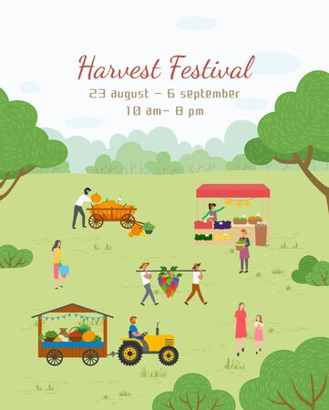Harvest festival invitation, 23 August, 6 September, from 10 am till 8 pm. People with vegetables and fruit, fair in park, pumpkin and grape, retail. Funny spending time on harvest festival