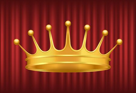 Queen golden crown on red background. Shiny and luxury headdress of royal person. Coronation ceremony accessory, symbol of power and government vector. Red curtain theater background