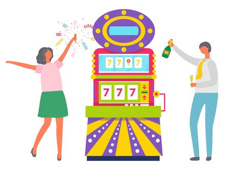Happy couple celebrating jackpot in casino vector, man and woman drinking champagne. Lady with confetti dancing by slot machine showing numbers 777. Family win money in slot mashine. Flat cartoon Çizim