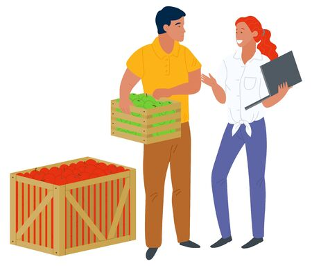 Man holding full wooden container, picking apples, woman with laptop. Business technology, retail of harvesting product, fruit in box, market vector. Picking apple concept. Flat cartoon