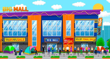 Sale in shopping center vector, people line by mall. Character sleeping in tent waiting for discounts and sales, queue of clients and customers. Big final sale in big mall. Black friday. Flat cartoon Imagens - 129655376