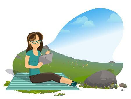 Woman relaxing on nature vector, person reading book on gadget, ebook reader, tourism of female. Natural environment and rest, rock and foliage flat style. Mountain tourism. Flat cartoon