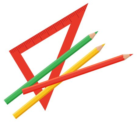 Triangle ruler for measurement length of figures and elements. Also straightedge for drawing straight lines using pencils beside. People use it all in architecting and geometry