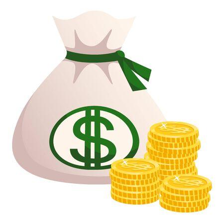 Richesse financière et vecteur de richesse, sac isolé avec des dollars, des pièces d'or. Bénéfice et bénéfice, en espèces. Sac en tissu avec paiement symbole vert. Dessin animé plat Vecteurs
