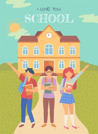Pupils holding books, girl and boy standing near building. I love you school postcard, children education, knowledge architecture, teenager vector. Back to school concept. Flat cartoon