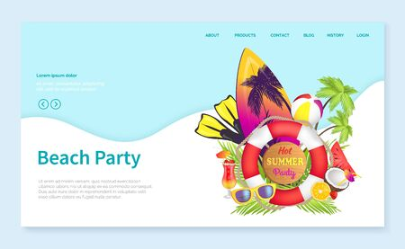Beach party vector, summer vacation by coast, surfing board with palms and lifebuoy, coconut and sunglasses, surfboard hobby. Swimsuit cocktail. Website or webpage template, landing page flat style Çizim