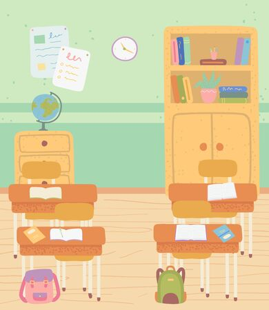 Classroom interior vector, room with desks and school supply, globe and shelves with books. Satchels bags of students, workplace with textbooks and pens. Back to school concept. Flat cartoon