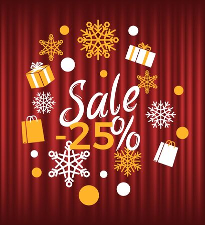 Winter season reduction of price vector, sale 25 percent. Snowflakes and presents packed in boxes tied with ribbons. Promotion and clearance business. Red curtain theater background Stock Illustratie