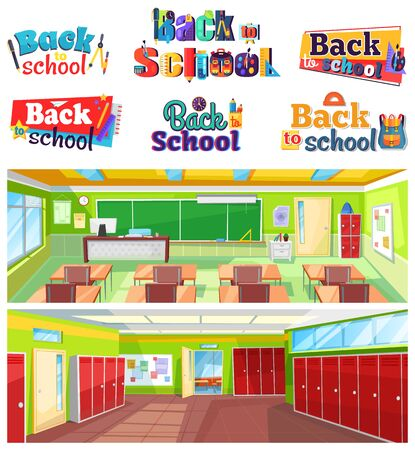 Back to school colorful logo design set. Classroom interior with chalkboard and desks, hall with lockers. Educational institution vector illustration. Back to school concept. Flat cartoon Illusztráció