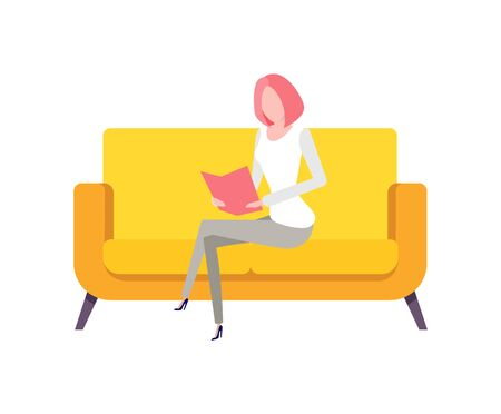 Person working from home vector, distant worker sitting on comfortable sofa, yellow furniture flat style. Secretary learning information form book document