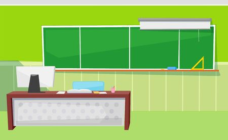 Classroom in green color, chalkboard with ruler and whiteboard, desktop with computer and notebook. Educational place, pc and textbook, audience vector. Back to school concept. Flat cartoon