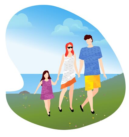 Mother father and little daughter walking near lake or pond and holding hands. Recreation near water. Family vacation concept vector illustration