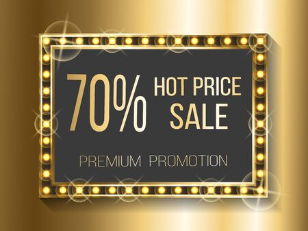 Super discount for shoppers vector, golden banner with gold lights and bulbs. Retro vintage style of frame 70 percent off cost, hot price square screen