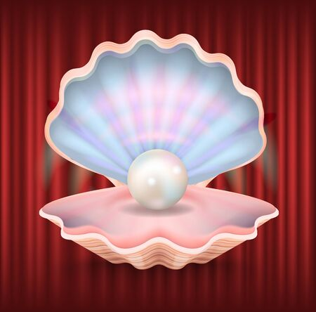 Mollusk with pearl vector, expensive luxury jewelry products. Shining seashell with round object inside. Red curtain background, presentation of product. Red curtain theater background