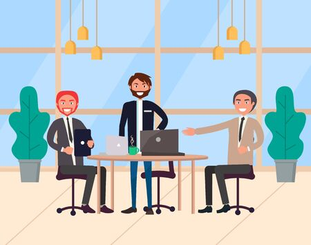 Group of three businessmen discussing strategy and setting corporate goals. Office meeting and collaboration between male colleagues, teamwork vector. Modern office with big windows Illustration