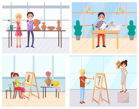 People art education, making application, painting and crafting. Handmade hobby of man and woman, worker drawing, cutting and sculpting indoor vector. Flat cartoon. Modern office or art school 일러스트
