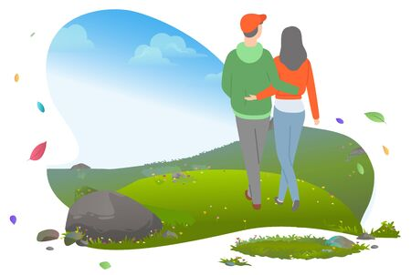 Young casual couple hugging and walking on meadow with green grass. People on romantic date outdoors in mountains, nature view vector illustration. Mountain tourism. Flat cartoon 일러스트