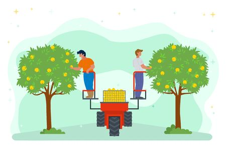 People on lifting machine vector, garden harvesting farming. Apple trees with fruits, seasonal works. Machinery harvest platform for picking organic products. Picking apples concept. Flat cartoon