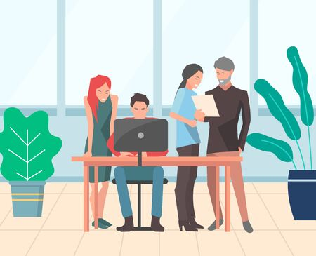 Brainstorming team in office vector, man and woman working on laptop. Workers thinking on task, computer development and planning of strategy flat style. Modern office with big windows Иллюстрация