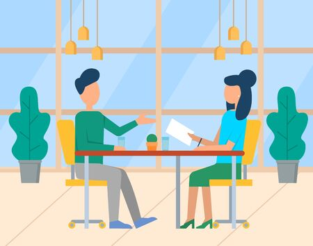 People discussion work in office, business workplace. Man and woman colleagues talking at table, employees teamwork with documents, cooperation vector. Modern office with big windows